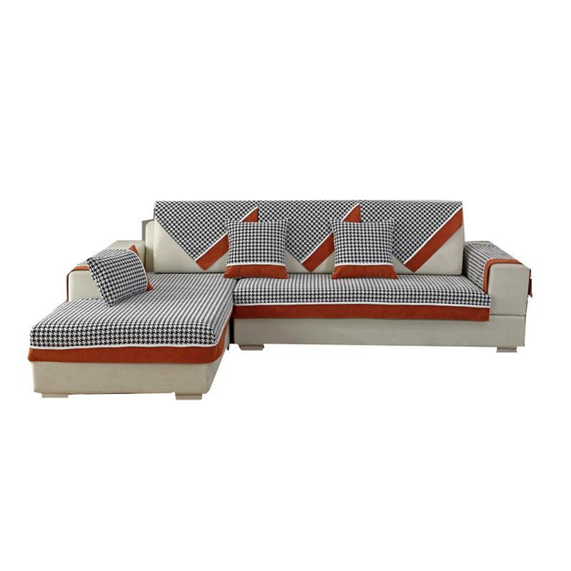 网红千鸟格雪尼尔沙发垫四季通用布艺坐垫现代简约防滑沙发巾套罩