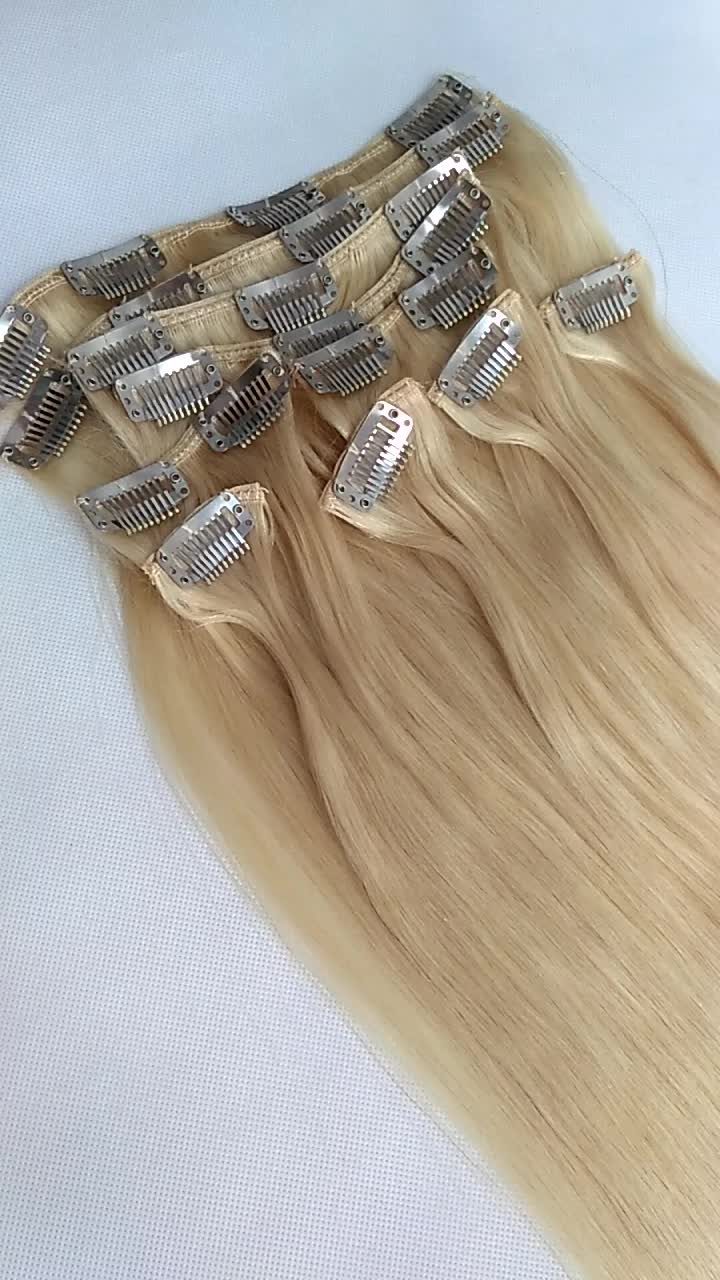 Factory Price Full Head Blonde Clip In Human Hair Extensions For