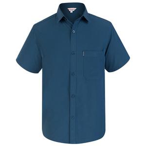 夏季中老年人男士短袖中年真丝衬衣