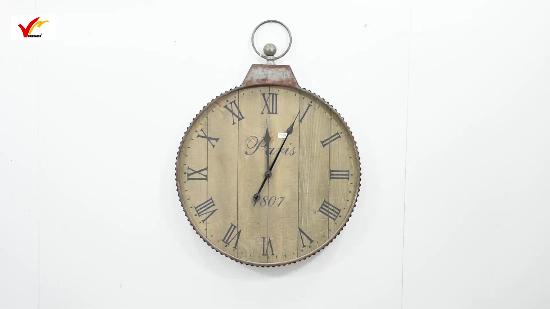 Vintage Antique Farmhouse Style Handmade Home goods Hanging Metal Wooden Decorative Wall Clock
