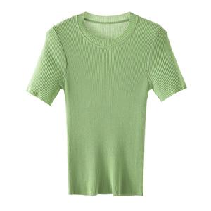 夏季2021新款牛油果绿短袖修身t恤