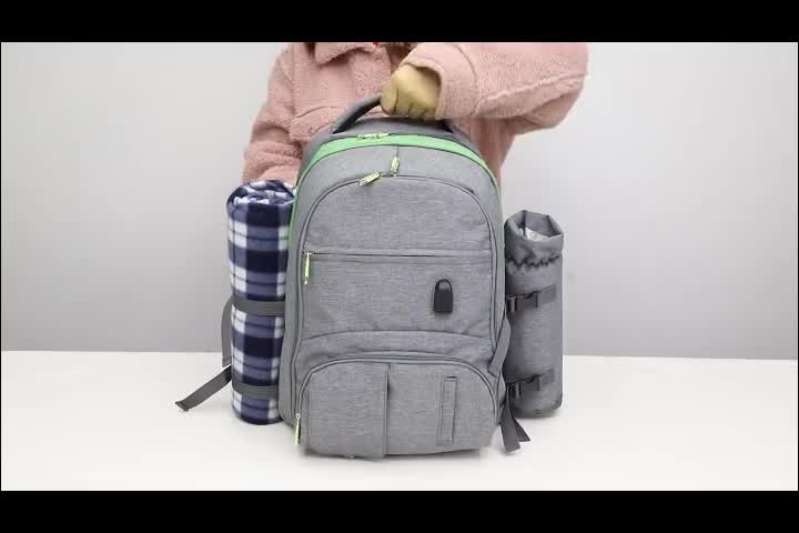 4 person 600D oxford thermos camping lunch cooler picnic bag backpack with tableware