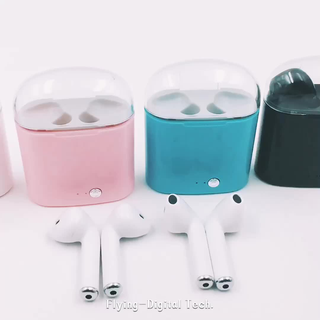 Factory wholesale wireless headset earphone colorful HBQ I7 TWS with charge case