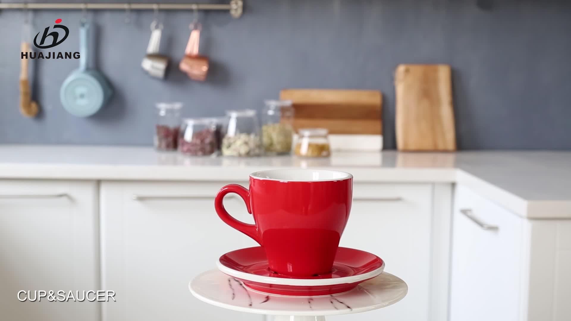 Personalizzato di colore satinato espresso in ceramica di caffè tazza di porcellana e piattino set