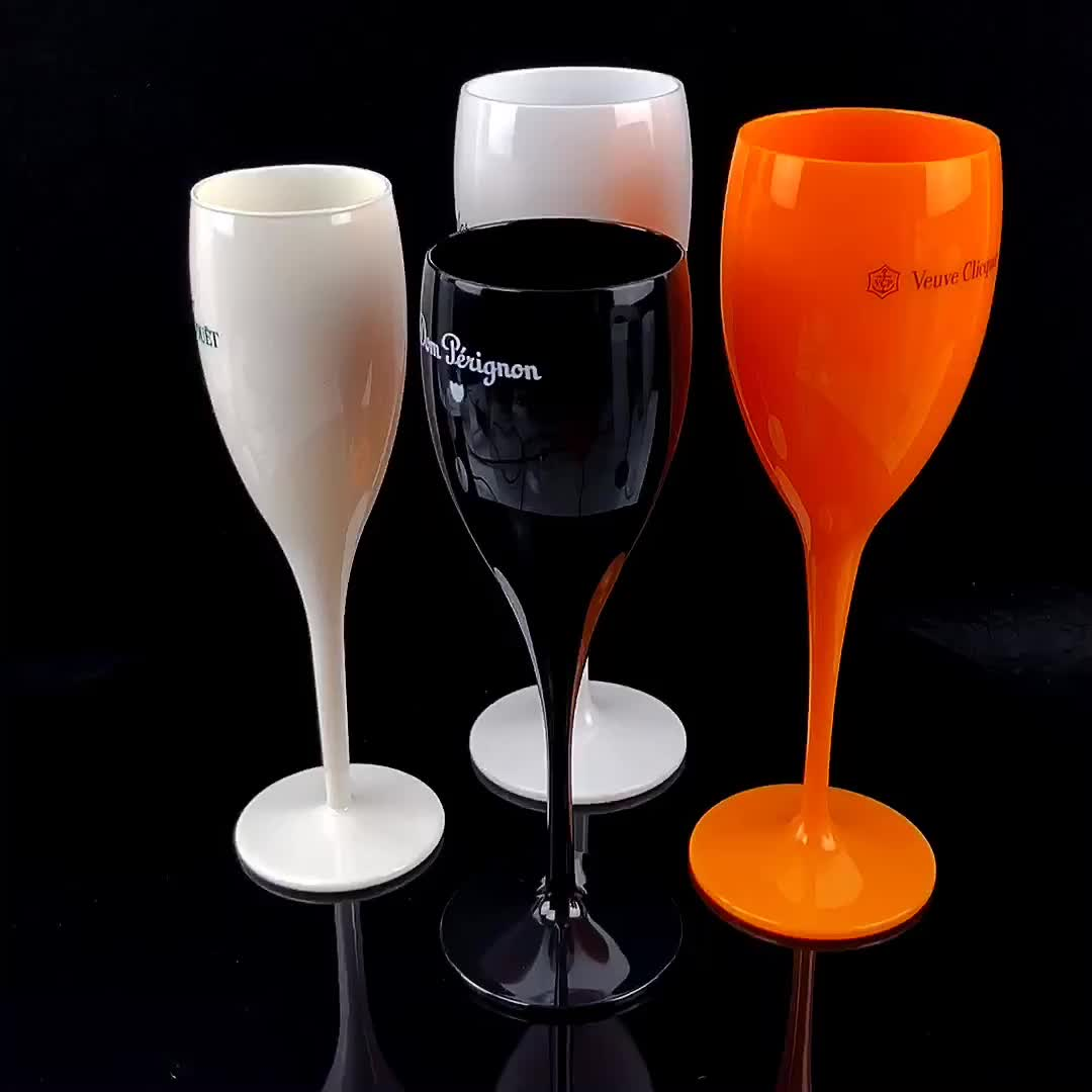 Customized Color 5oz plastic champagne Flutes Hotel Party Champagne glass