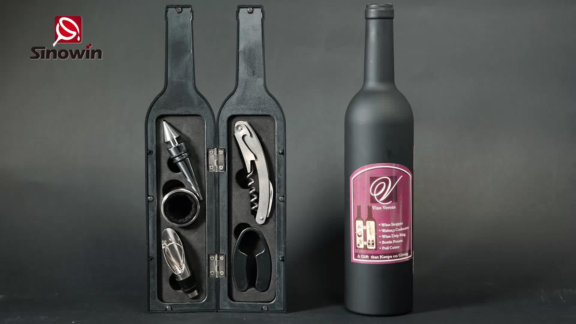 ชุดเครื่องมือไวน์ไฟฟ้าขวดไวน์ 5 ชิ้นชุดเครื่องมืออุปกรณ์ขวดไวน์