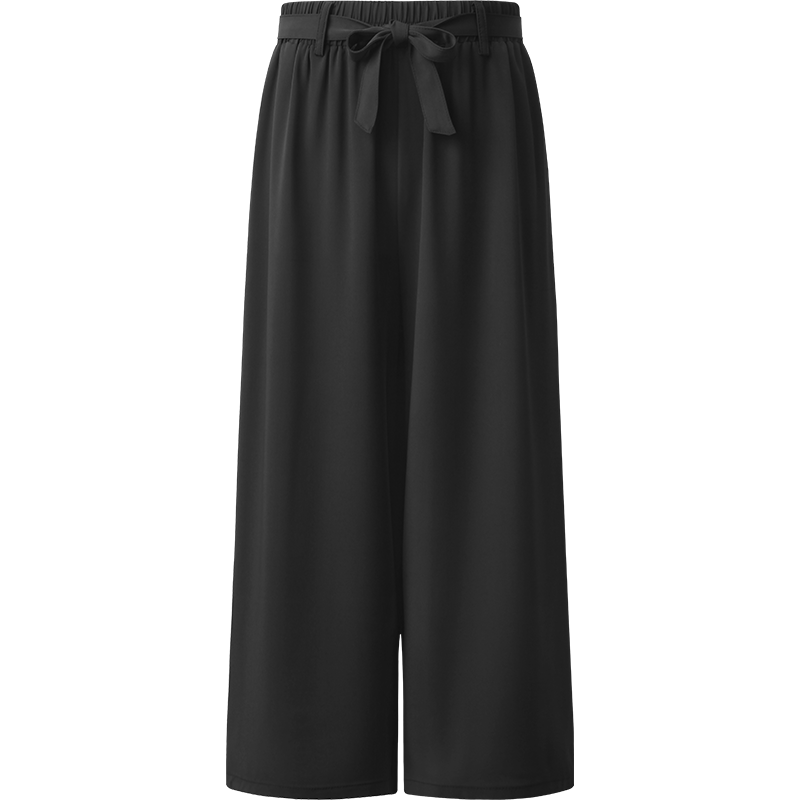 艾米恋雪纺七分阔腿裤女2020年薄款垂感夏季宽松九分松紧高腰裤子
