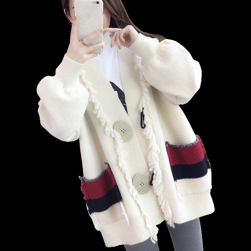 很仙的毛衣女慵懒风春装2019韩版新款宽松中长款针织衫开衫女外套