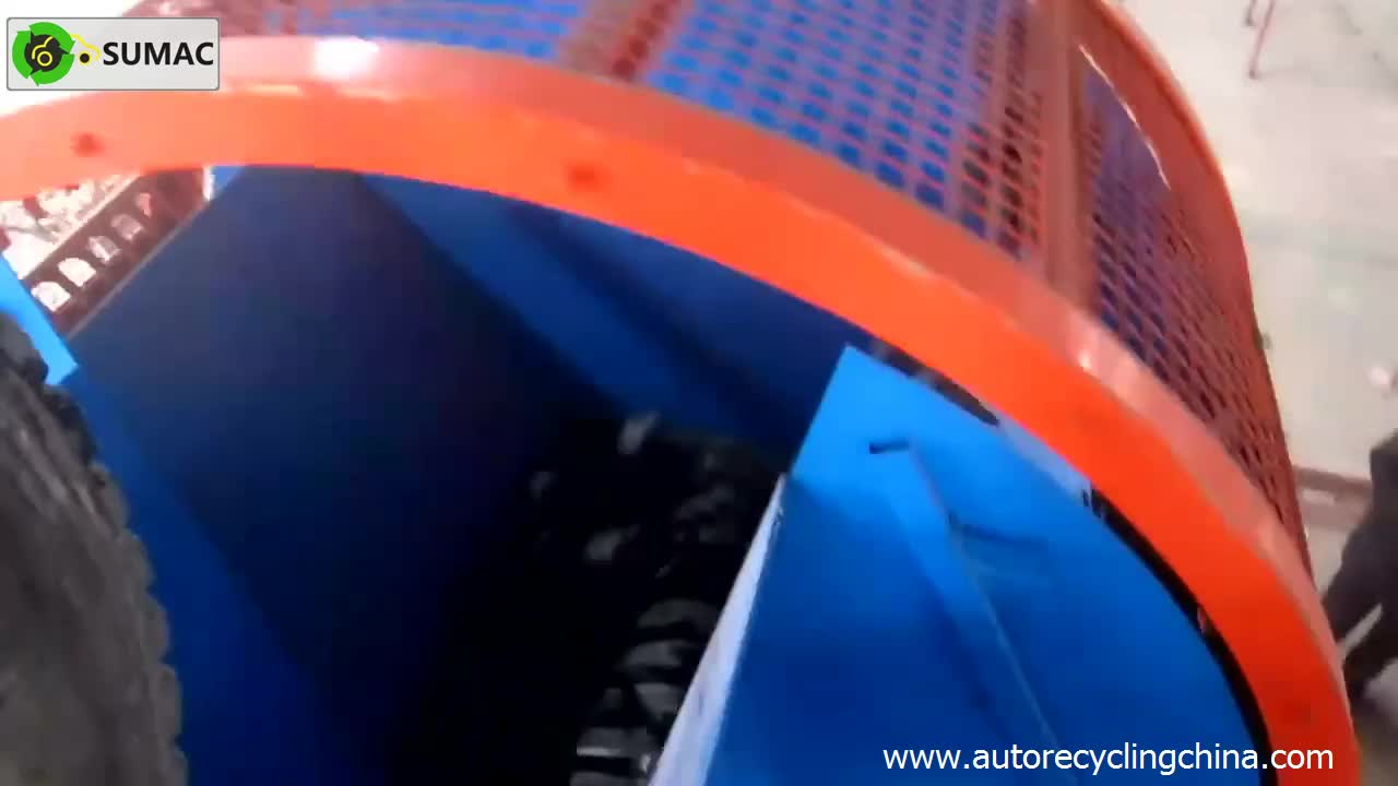 Waste tire recycling machine twin shafts tire shredder