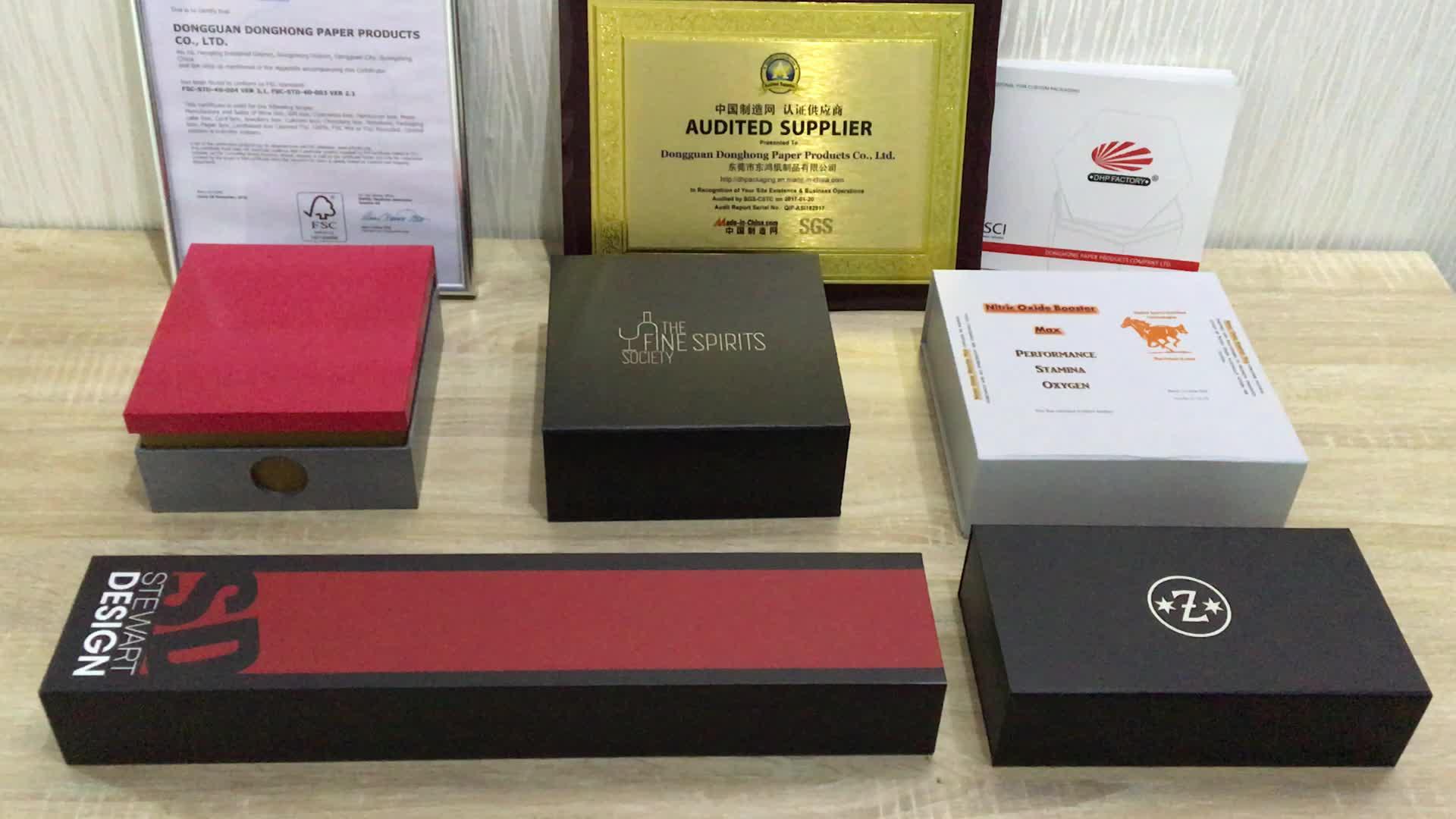 Su misura Di Carta Rigida di Lusso Regalo Scatole di Imballaggio Nero Chiusura Magnetica