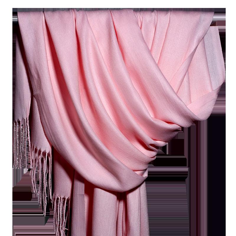 围巾女秋冬季纯色仿羊绒文艺百搭中国红长款春秋空调房保暖披肩厚