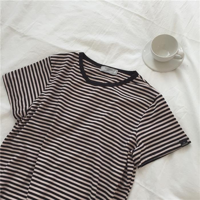 muzi 18春/【新增黑白 袖口或下摆黑标随机发】百搭条纹短袖T恤女