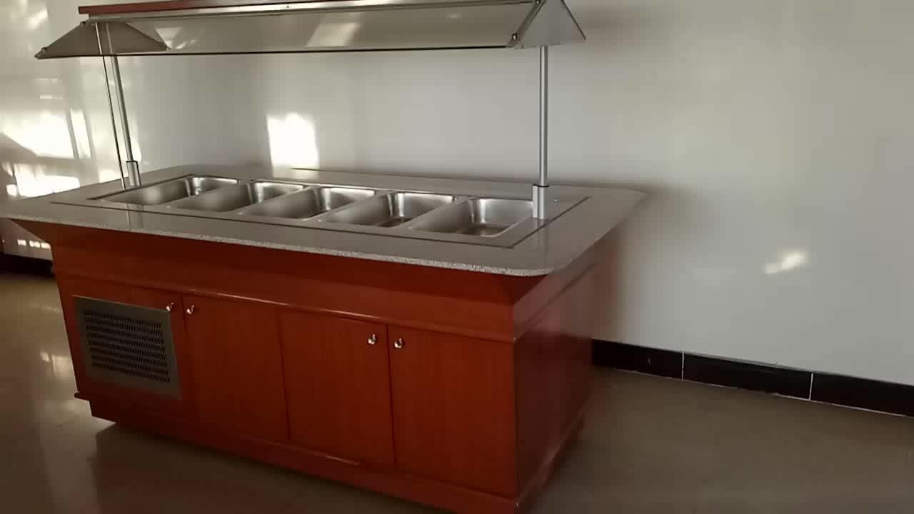 Nice Design Wooden Structure Acrylic Glass Big Capacity GN Pan Refrigerated Salad Bar M-T-BXGL4