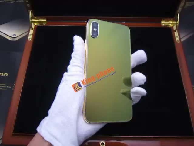 Customized Luxury Genuine Leather Gold Plated Back Housing With Diamonds For iPhoneXS Max