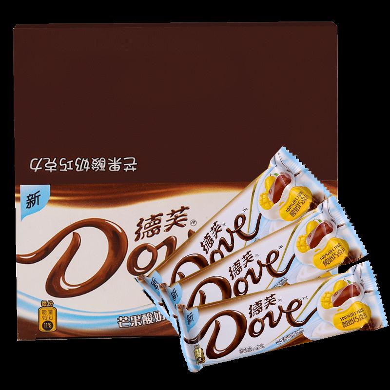德芙巧克力小清新水果口味芒果酸奶巧克力42g*12整盒休闲零食