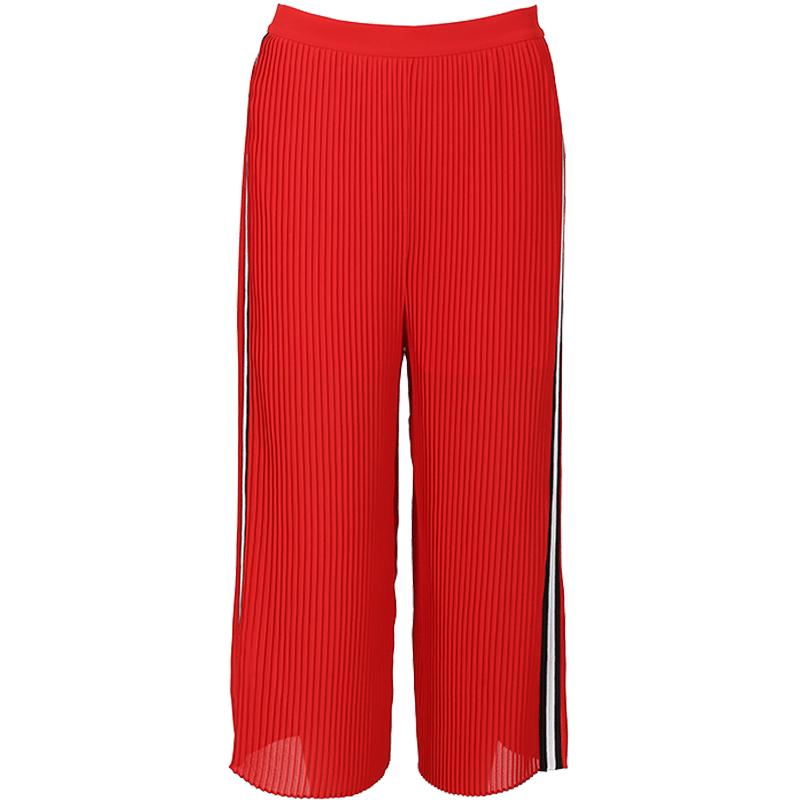 季候风2019夏季简约时尚新款雪纺撞色高腰宽松七分裤女
