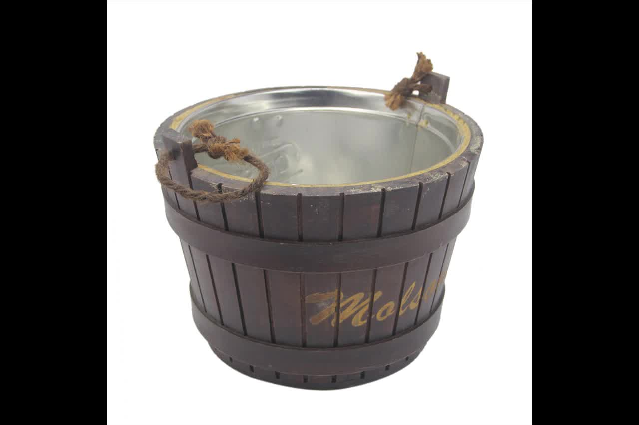 China Supplier Home Storage Hand-made Brown Wooden Bucket with lid