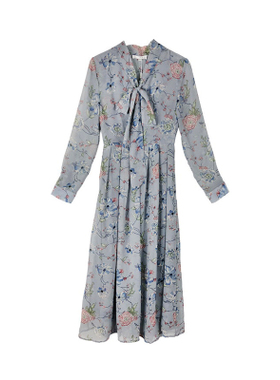 2021春夏新款灰蓝色碎花雪纺中长裙