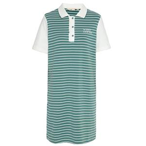 布景女学院风方领条纹撞色连衣裙