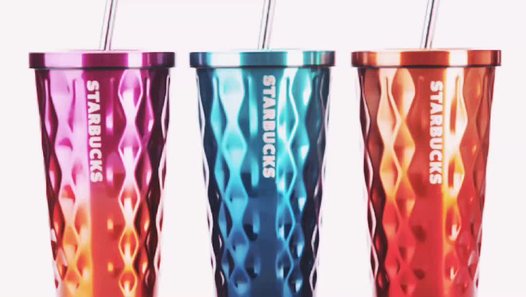 2017 hot sell customzied double wall stainless steel starbucks tumbler with straw 16oz (HY-E018 450ml with newest design)