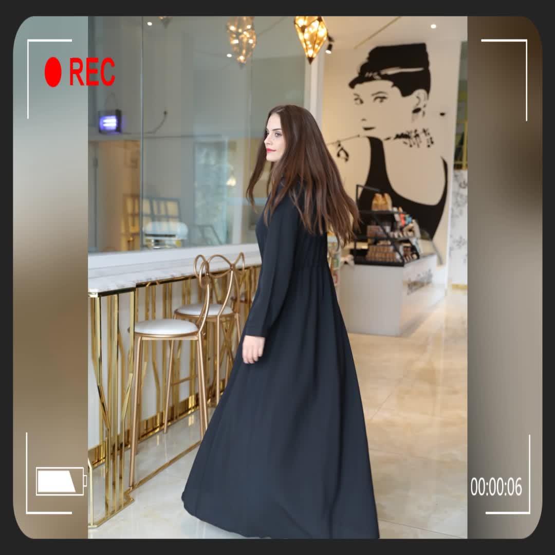 Muslim long sleeve chiffon maxi casual dress