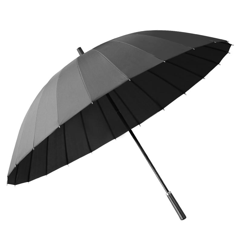 男士24骨长柄雨伞加大加固加厚大号双人长把超大黑色直柄商务男s