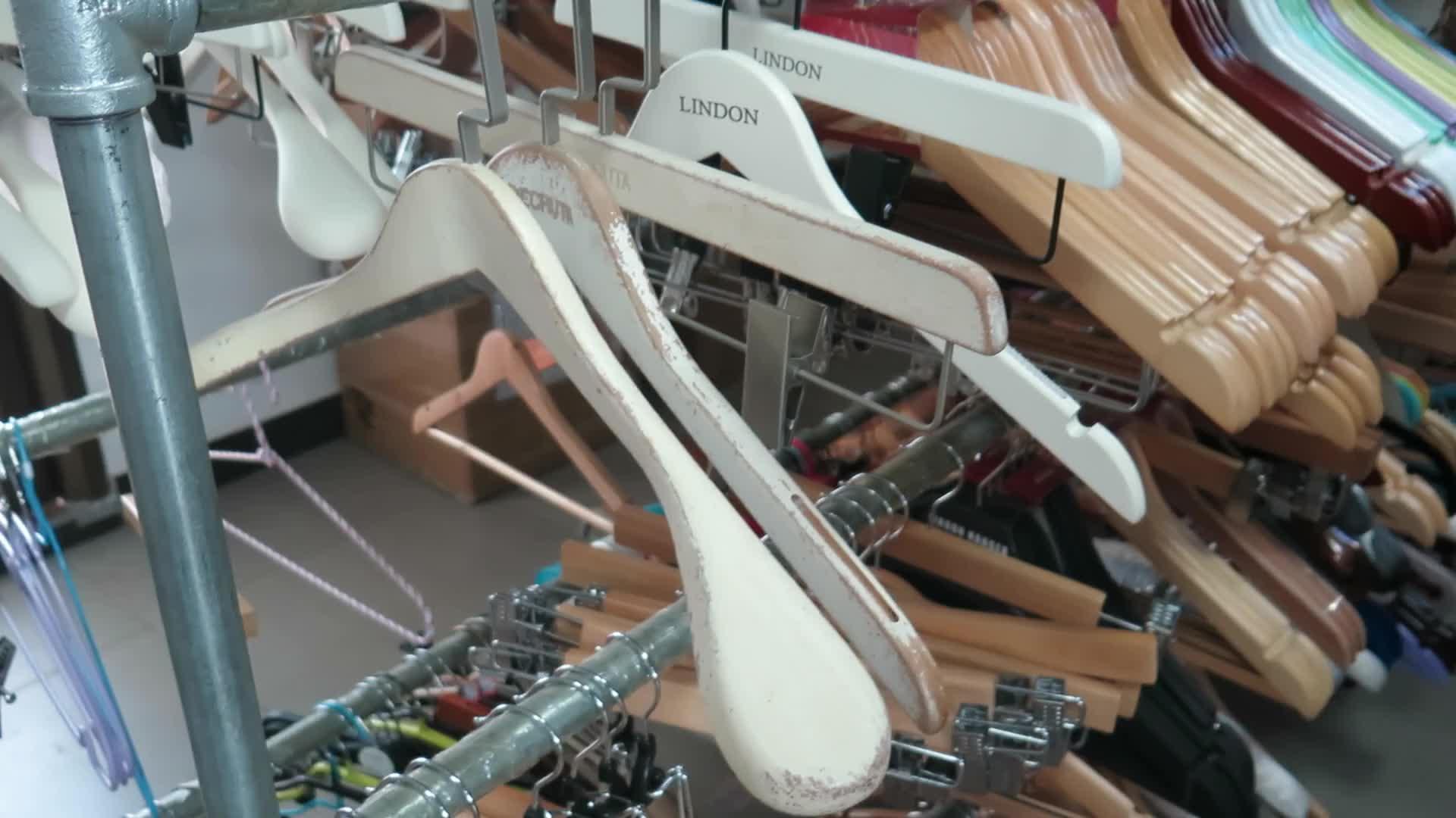 LINDON painted destroyed antique white wooden nickel flat hook hanger