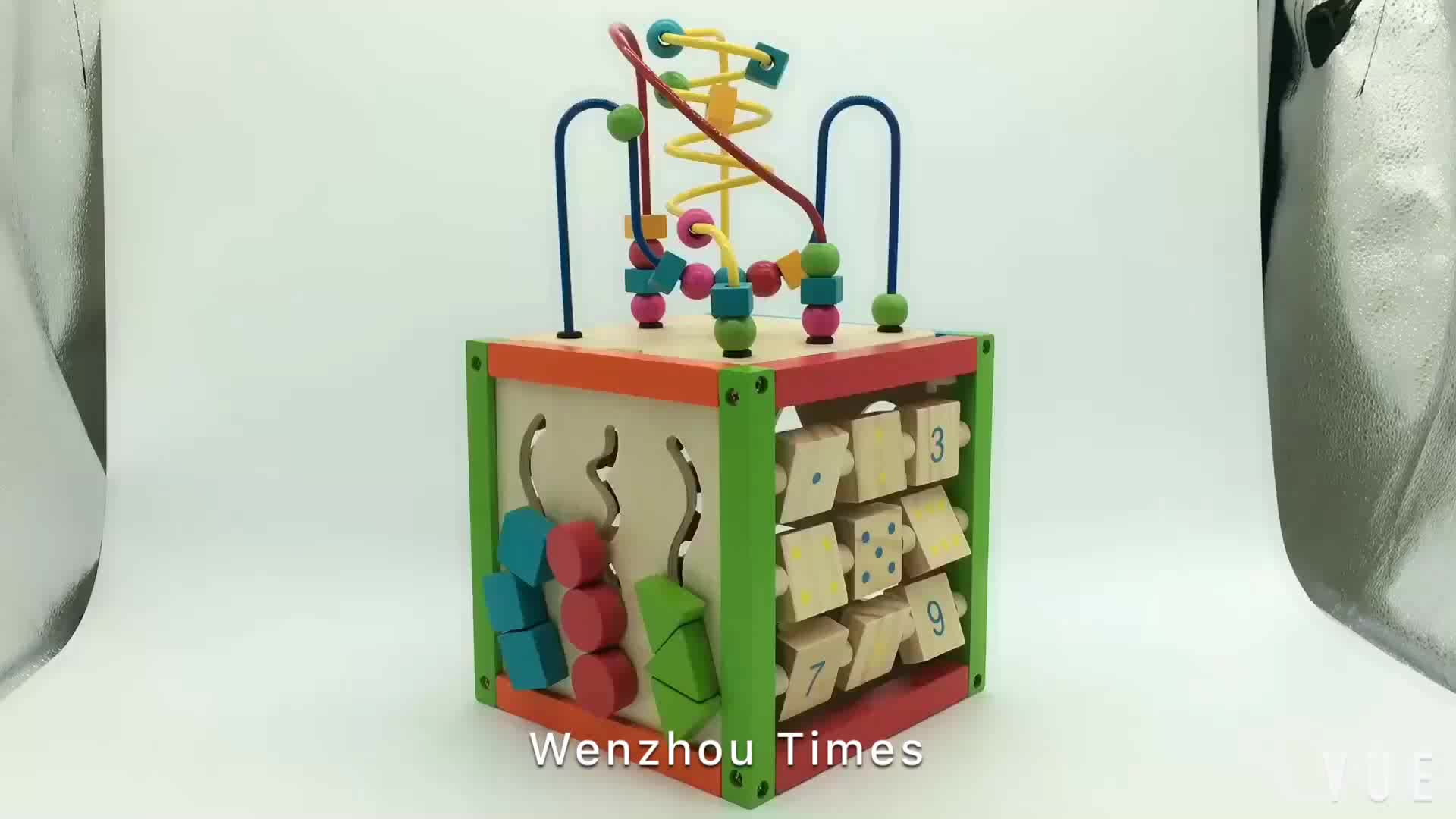 Big sale educational baby wooden activity cube toys for wholesale W11B084
