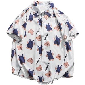 薄款穿搭小熊半袖设计感外穿衬衫