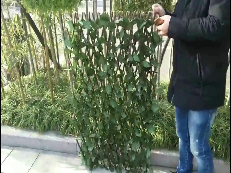 wholesale plastic leaf Artificial Wooden Expanding Trellis fencing ...