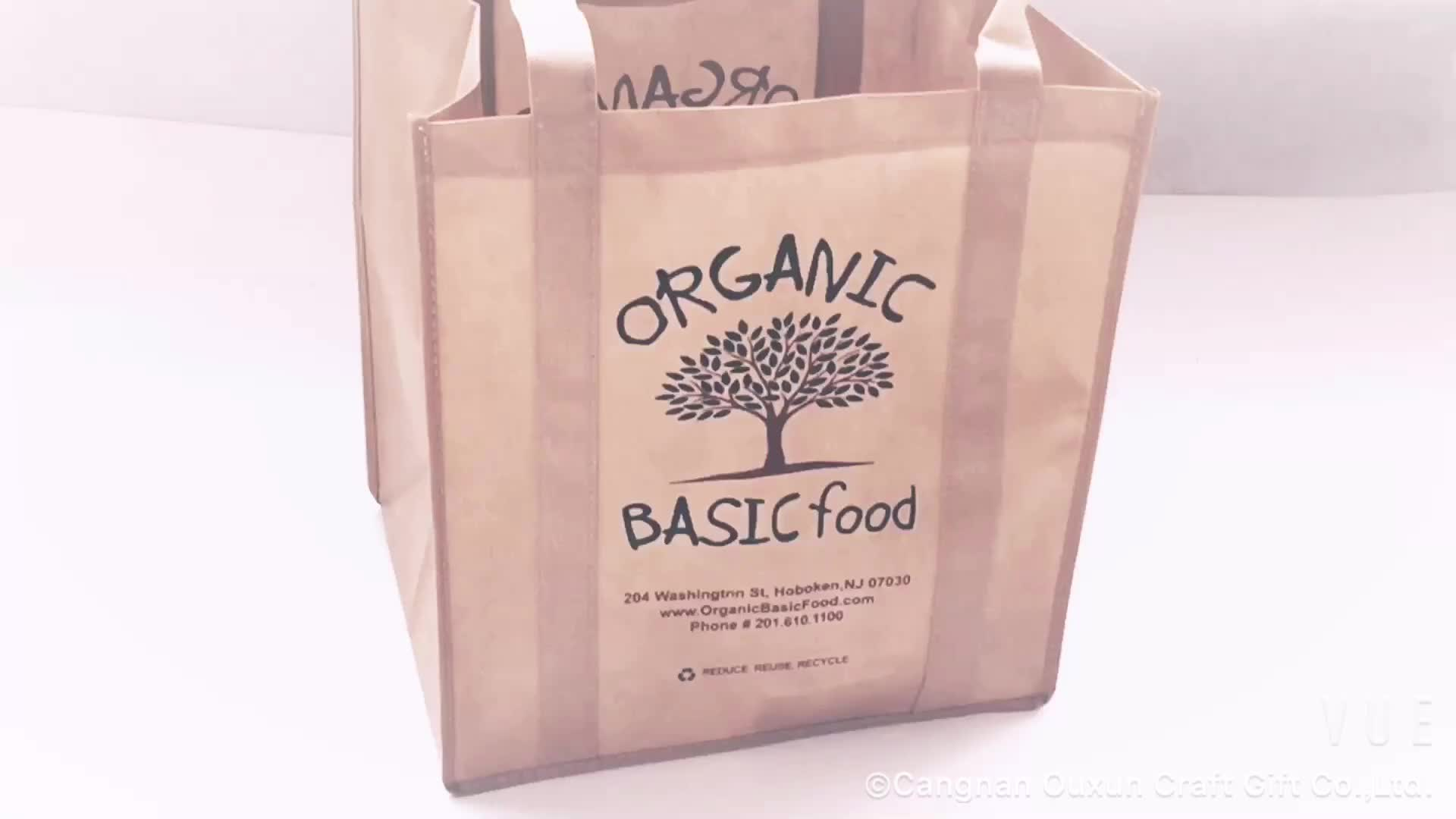 Promotionele pp gecoat custom gedrukt gerecycled eco tnt kruidenier handvat niet geweven zak
