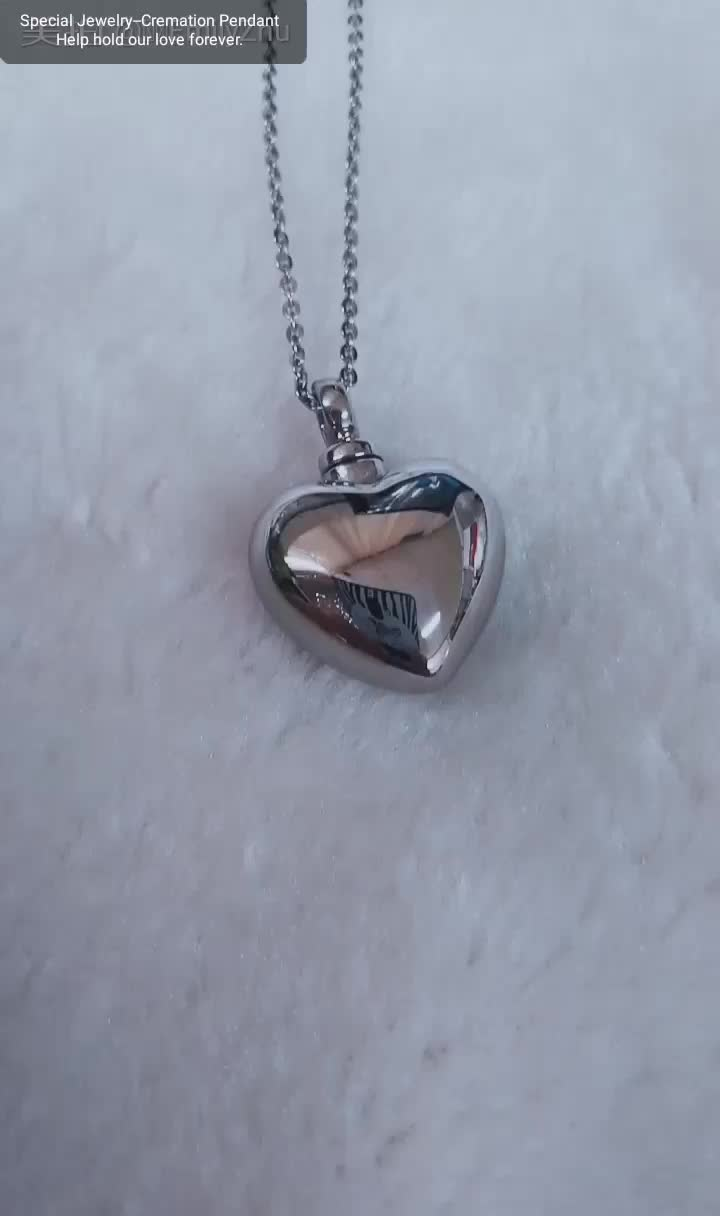Heart shaped hollow ashes Memorial Pendant stainless steel Plated 18K Gold Jewelry