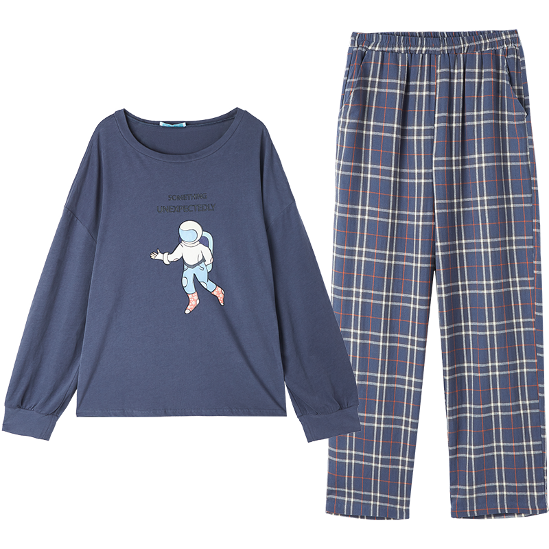 春秋季家居服女可出门休闲卡通睡衣女秋冬款纯棉长袖宽松两件套装