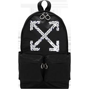 OFF WHITE 箭頭黑色中性男女通用雙肩包揹包旅行包書包