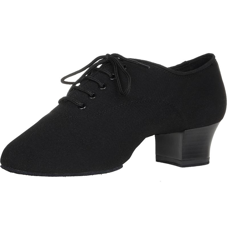 自然牛拉丁舞鞋男士牛津布舞蹈鞋成人软底交谊国标跳舞鞋中跟四季