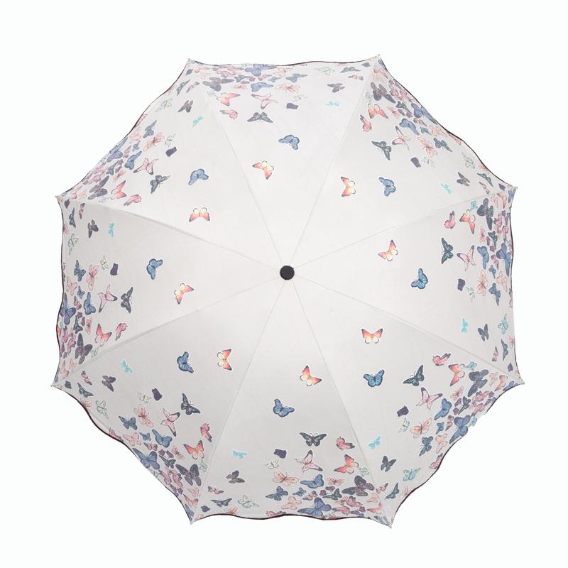 遇水变色太阳伞防晒防紫外线遮阳伞森系雨伞女韩国小清新晴雨两用