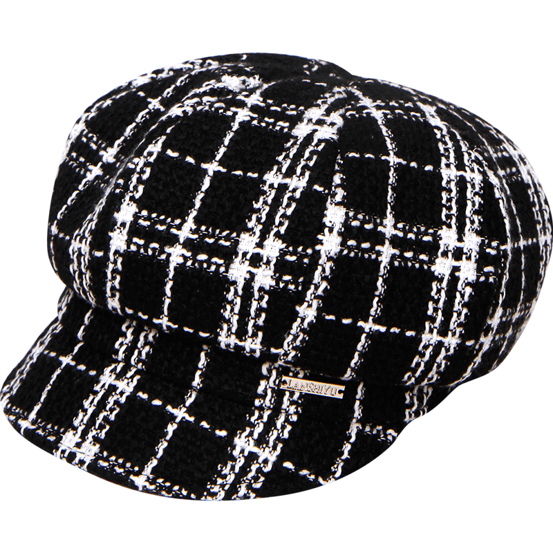 兰诗雨帽子女秋冬贝雷帽百搭鸭舌帽女格子八角帽冬季英伦贝雷帽子