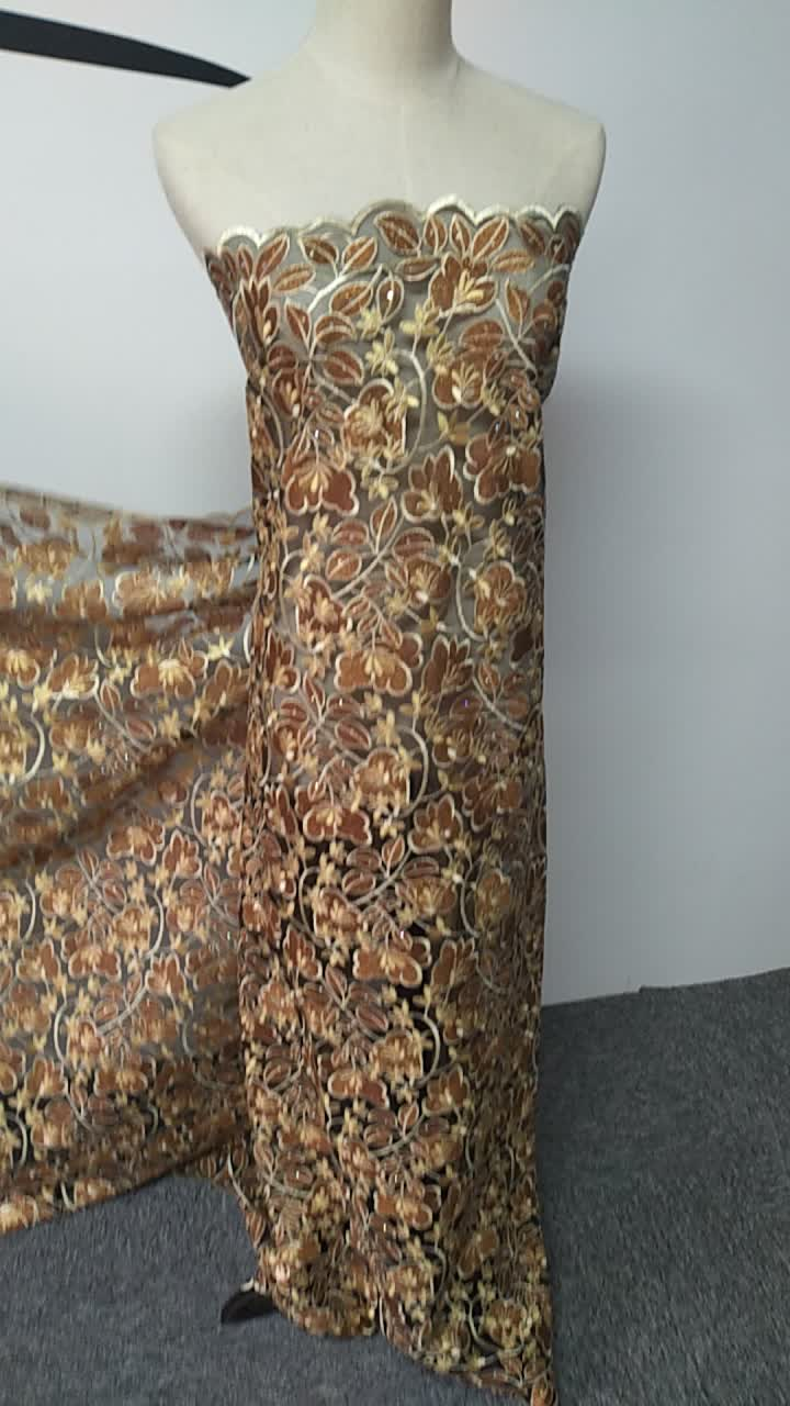 África chantilly francés encaje neto de tejidos con secuencia/neto de encaje bordado con paillette en dubai