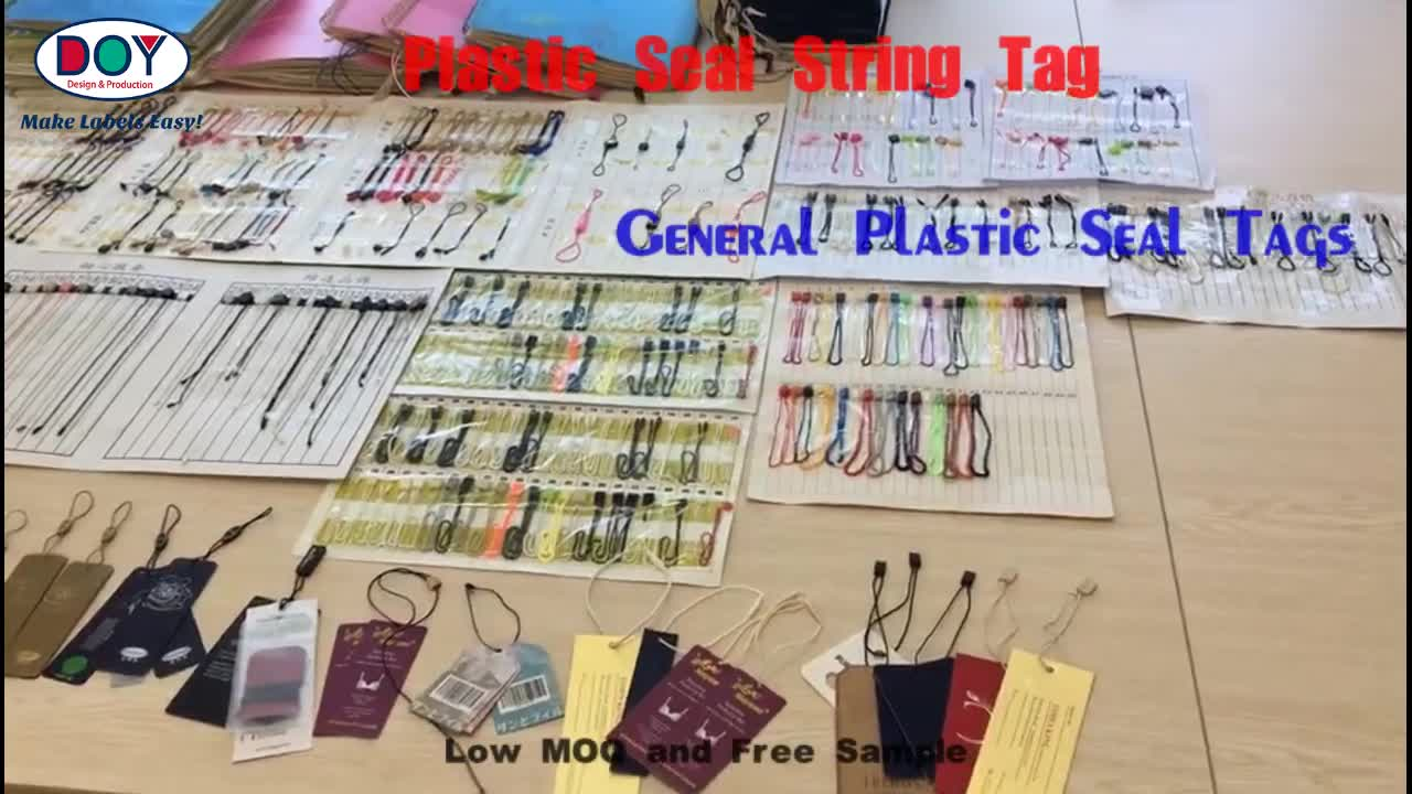 Factory Direct Price Custom Commonly Use White Plastic Seal Nylon String Hang Tags for Clothing