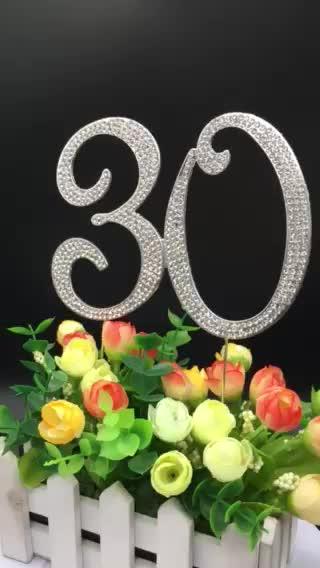 Venda quente Personalizado Rhinestone Gem Escolha Topper Do Bolo Número Bolo Topper Para O Aniversário de Casamento Festa de Aniversário