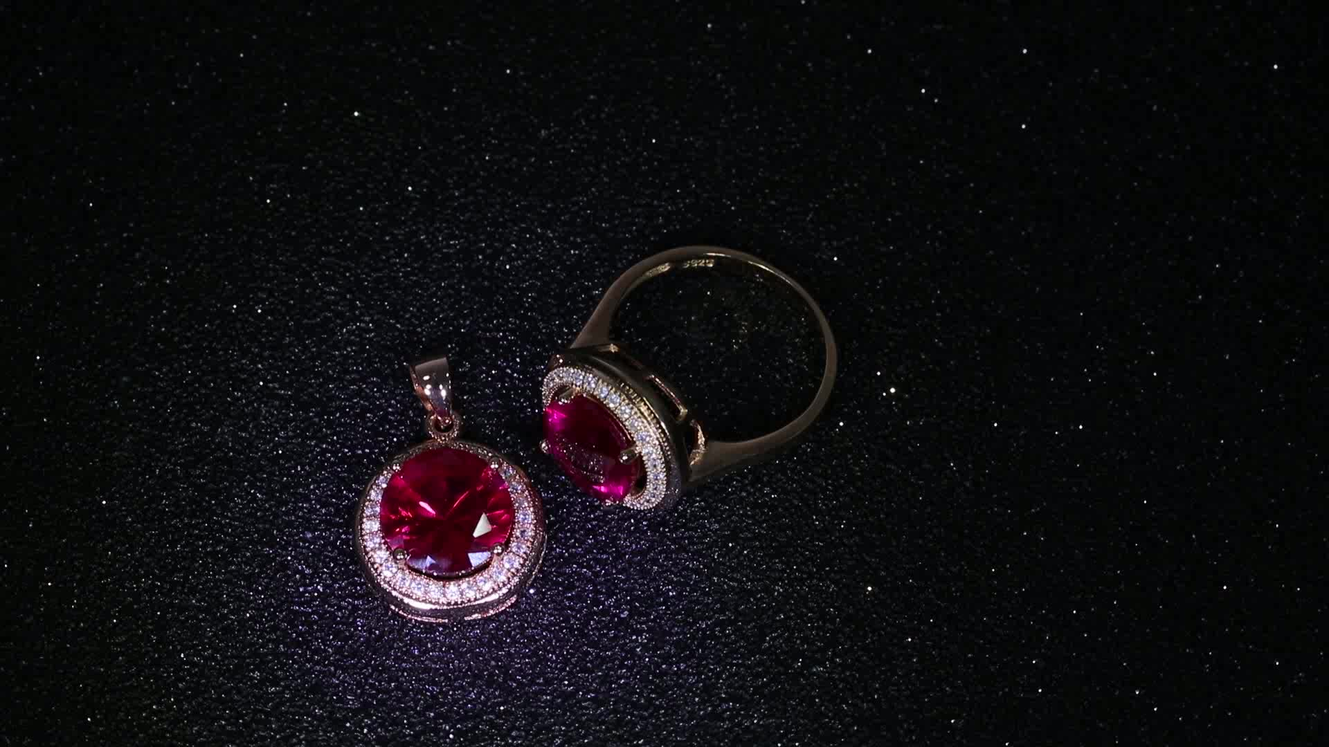 fashion 925 sterling silver jewelry set with red cubic zircon stone