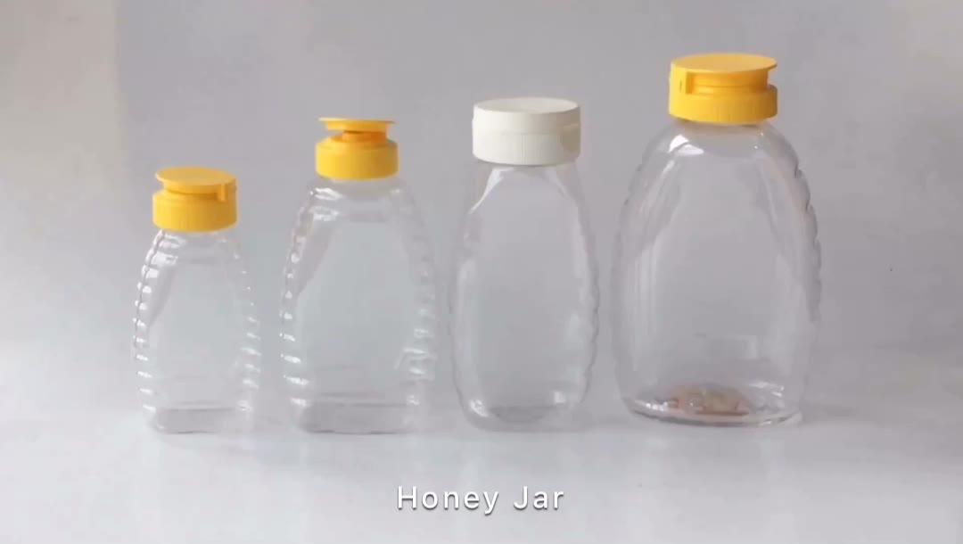 בקבוקים לסחוט דבש פלסטיק עם סיליקון מזון כיתה 500 גרם מכסה שסתום