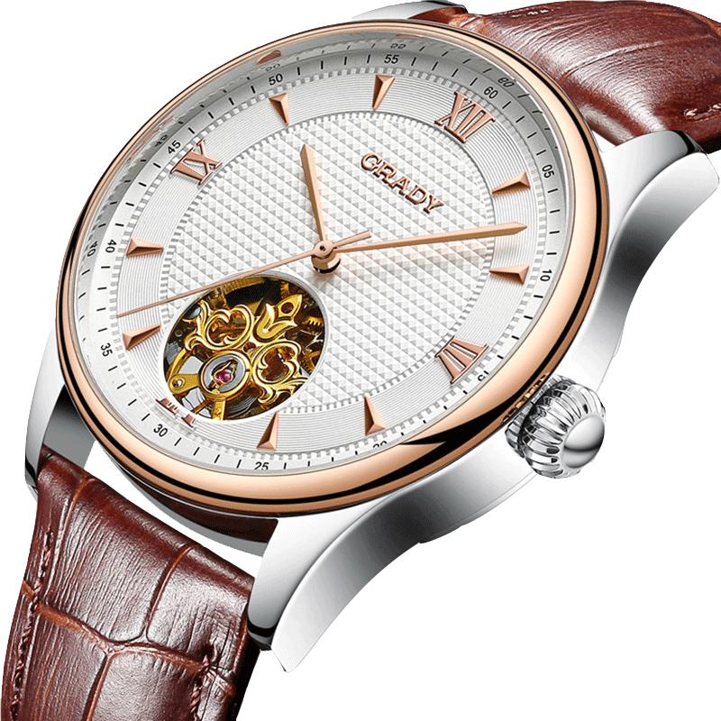 格雷迪正品男士镂空全自动机械表男表时尚潮流皮带表防水精钢手表