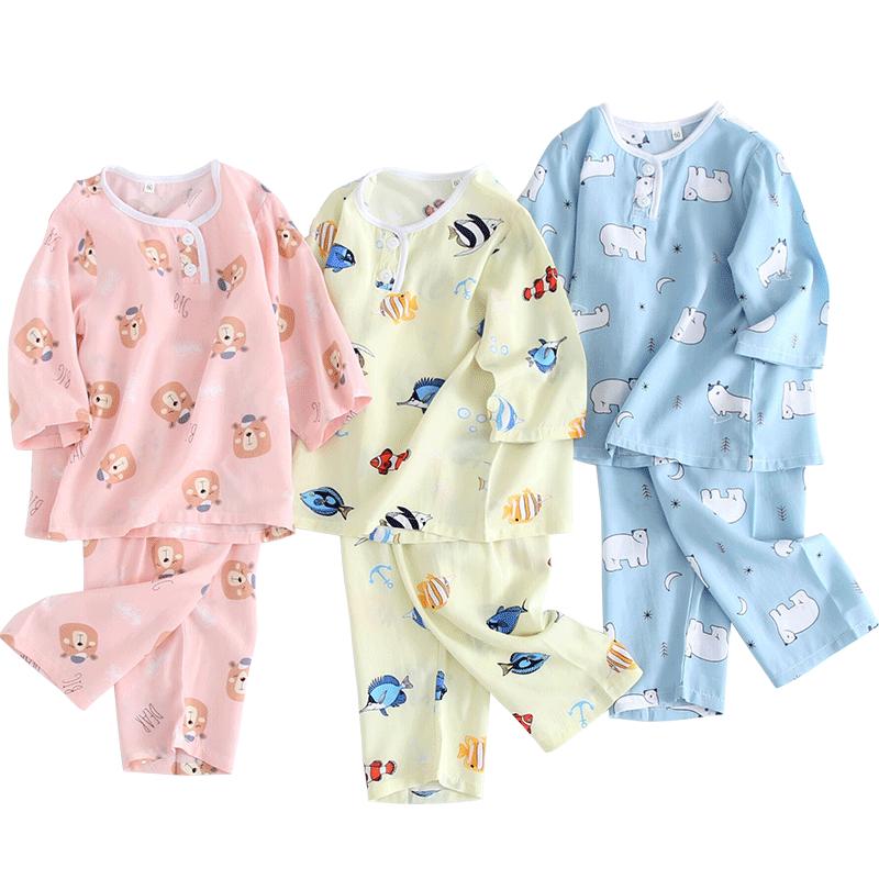 儿童睡衣薄款棉绸男孩女孩春夏季空调服男童女童宝宝7-9岁家居服