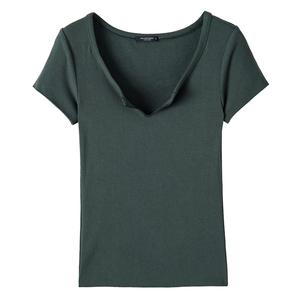 极简的慵懒!薄款修身v领短袖t恤