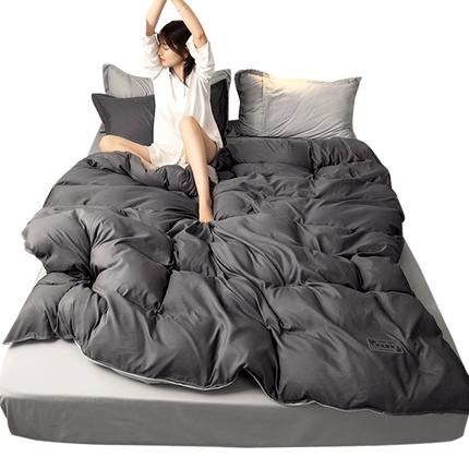 网红款水洗棉四件套北欧风纯色床单