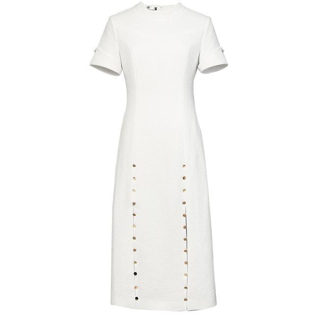 白色气质名媛修身长裙短袖显瘦中长款连衣裙女装夏装2021新款