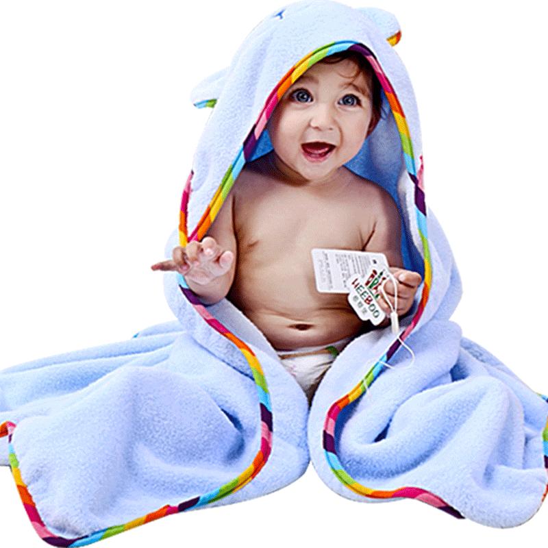 婴儿浴巾秋冬款竹纤维吸水带帽斗篷初生宝宝纯棉亲肤洗澡巾四季款