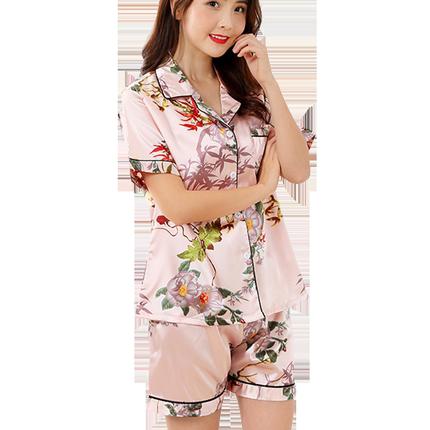 夏季冰丝绸短袖开衫两件套韩版睡衣