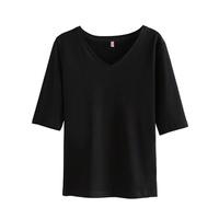 黑色中袖t恤v领修身新款打底衫质量可靠吗
